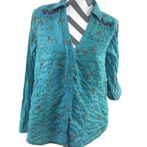 Torrid 1 Blue Floral V Neck Button Down Shirt